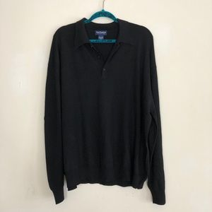 100% Merino Wool Men's Polo Sweater Black XXL